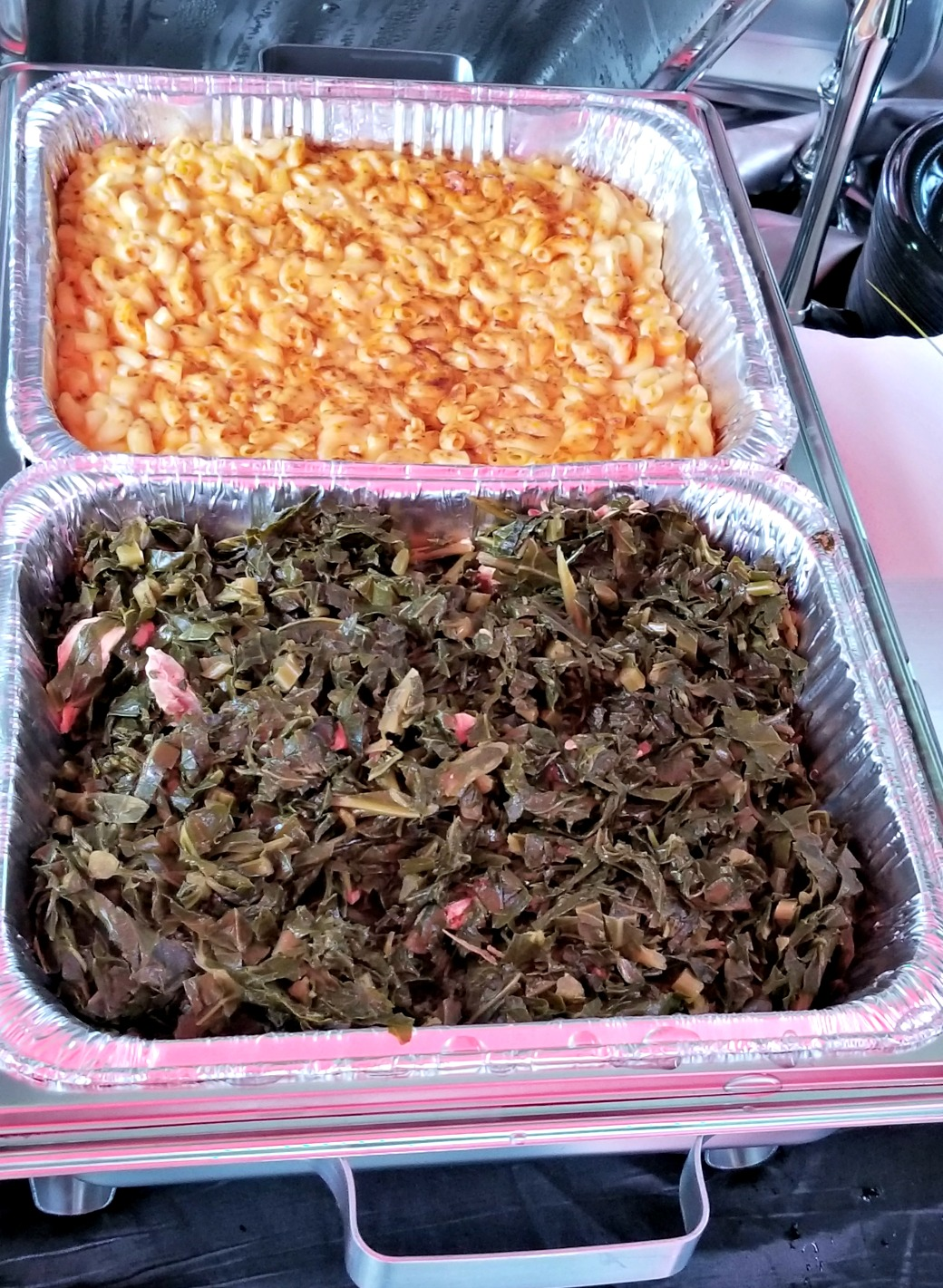 Collard greens and mac and cheese
